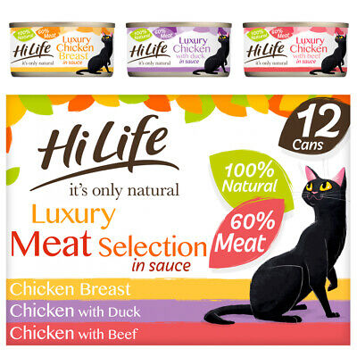 Hilife Wet Cat Food Cans Meat Selection In Sauce 12x70g