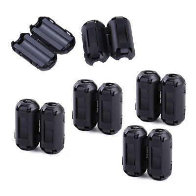 10pcs Snap On 5mm Clip-on Noise Ferrite Core Ring Bead Filter Rfi Emi Cable Clip