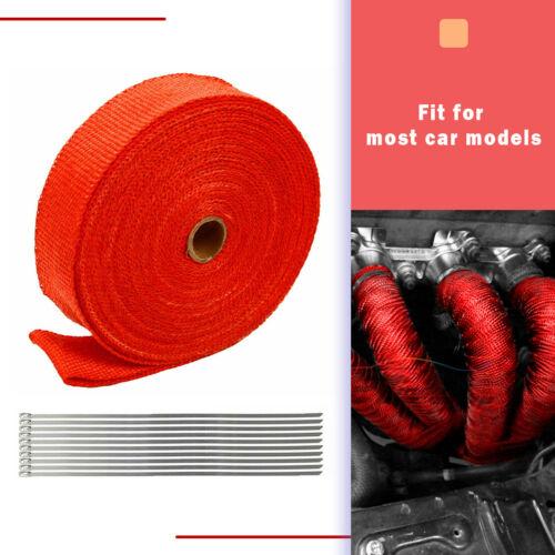RED HEADER EXHAUST HEAT WRAP MANIFOLD 2 INCH 2X50 TURBO UNIVERSAL RACING TIES