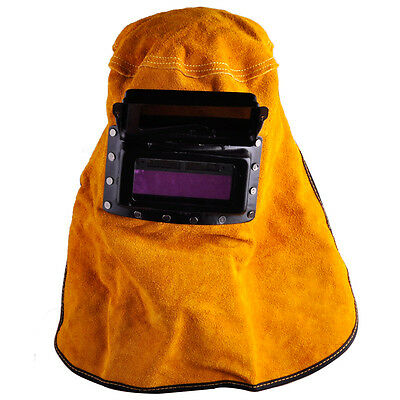 Welding Helmet Leather Hood Mask Solar Auto Darkening Filter Welder Lens Yellow