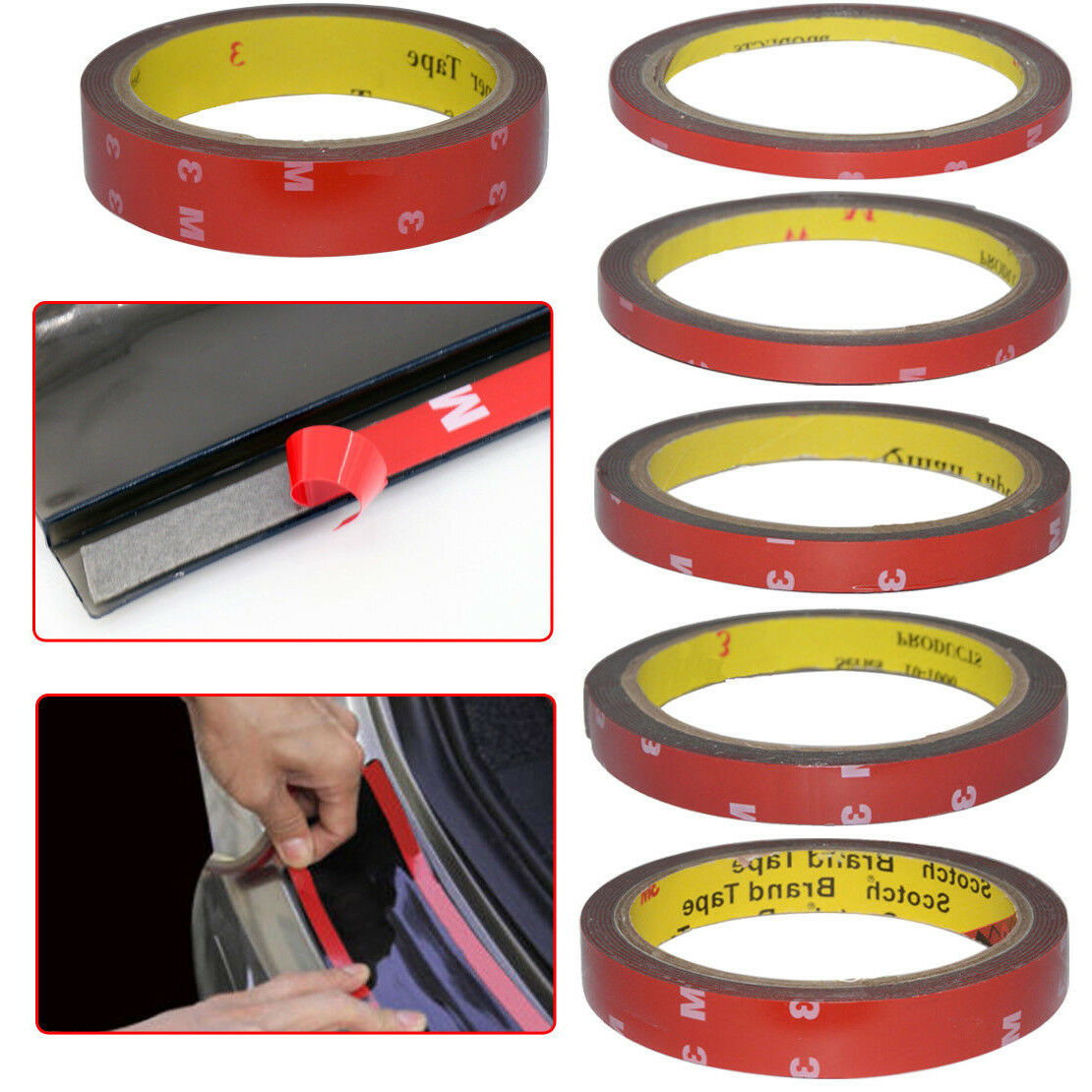 3M//Roll Red Car Truck Automotive Acrylic Plus Double Sided Attachment Tape 10mm