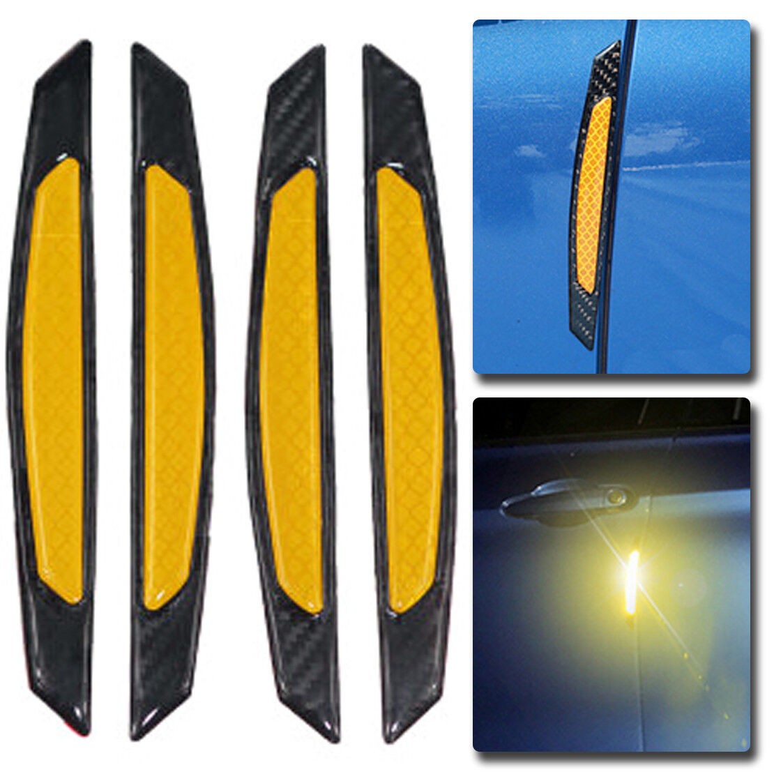 4X Yellow Reflective Carbon Fiber Car Door Edge Protector anti-collision Sticker