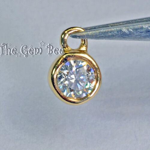 0.07CT 14k Solid Yellow Gold Full Brilliant Cut Diamond Bezel Charm Pendant