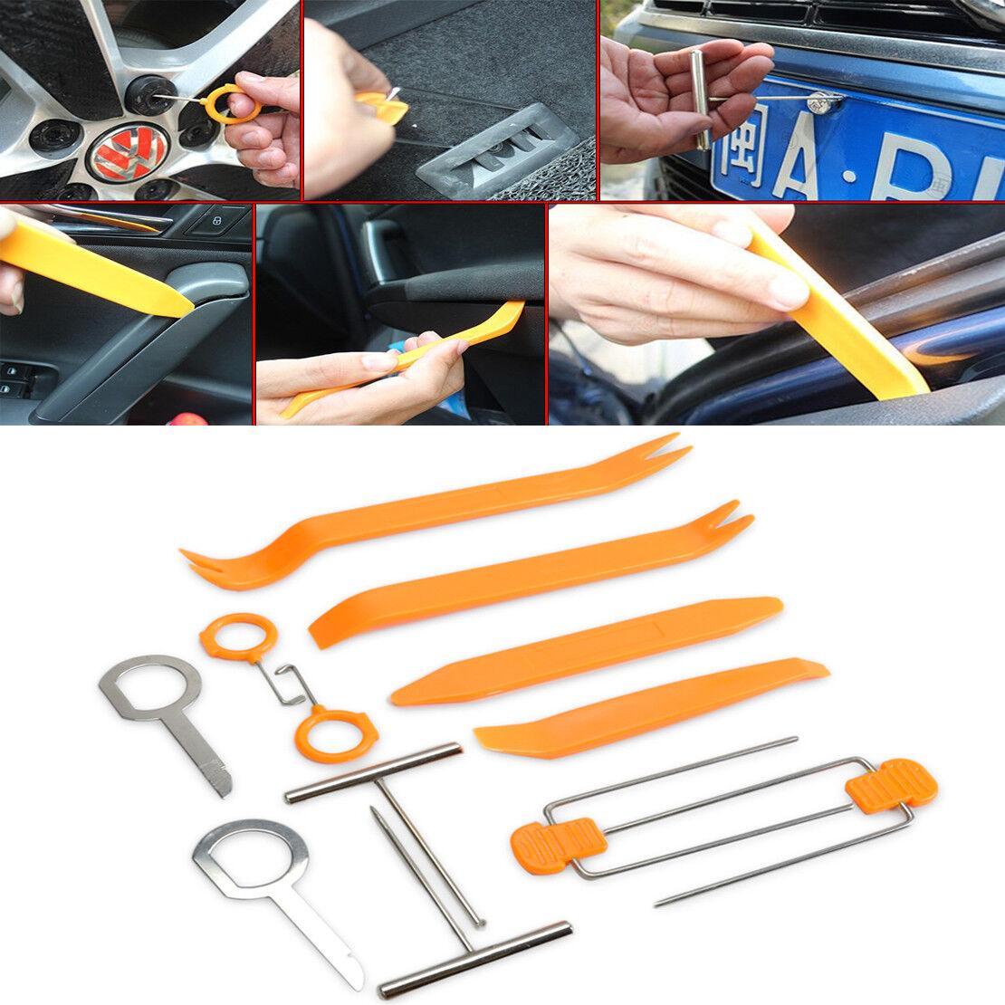 12x Plastic Car Radio Door Clip Panel Trim Dash Audio Pry Removal Tools Kit lip