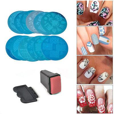 12x Manicure Template Nail Art Image Stamping Polish Print Plate Stamper Scraper
