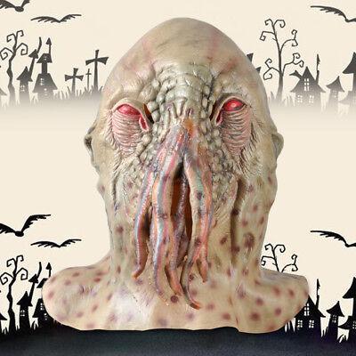 Horror Latex Octopus Krake Kopf Hals Maske Halloween Karneval Kostüm Monster