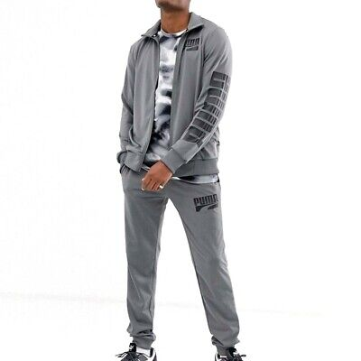 Puma Rebel Mens Sports Casual Tricot Tracksuit Suit Set Grey - M