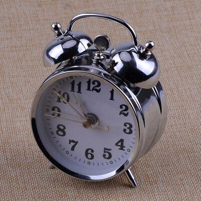Vintage Style Mechanical Alarm Clock Retro Manual Wind Up Metal Clock Silver...