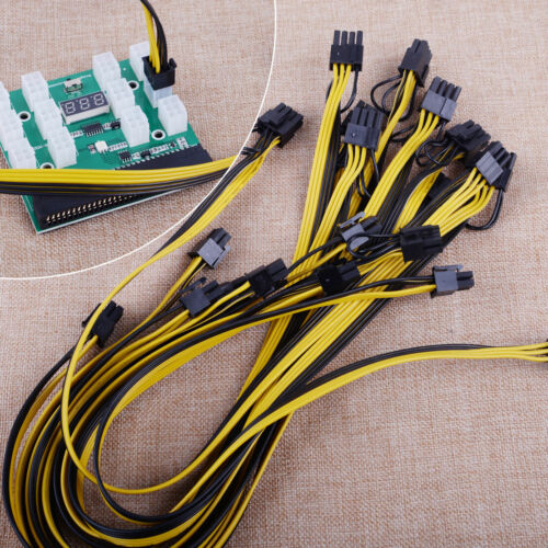 For HP PSU GPU 6PIN 1600W Mining Power 12Ports Breakout Board + PCIE Cables 50cm