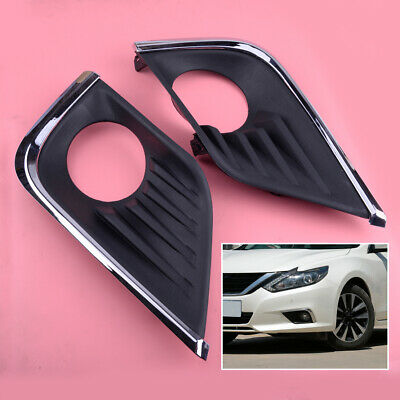 1Pair Front Bumper Fog Lamp Bezel Cover Fit For Nissan Altima 2016-18 Plastic ge