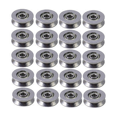 20pcs Deep V Groove Guide Wire Line Pulley Rail Track Ball Bearing 3x12x4mm