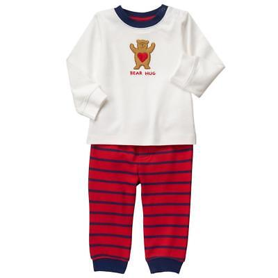 NWT Gymboree Cozy Valentine Baby Boys Bear Hug Shirt & Pants Outfit Set 0-3 M - Toddler Boy Valentine Outfit
