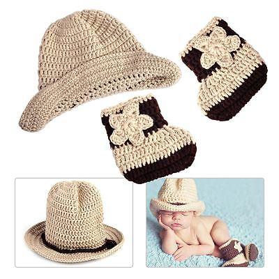 Baby Cool Cowboy Hut Jungen Kostüm Gestrickt Mütze Fotoshooting Fotografie Neu