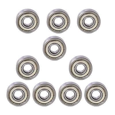 10 Pcs 606 Zz Metal Miniature Deep Groove Shielded Ball Bearings 6x17x6 Mm