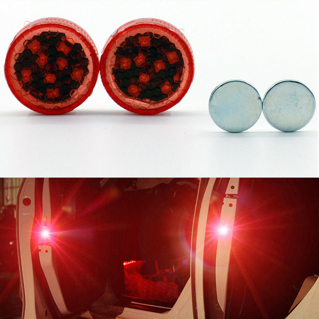 2x Universal Car Door Opened Warning Flash Light Kit Anti-collid Wireless 8 LED