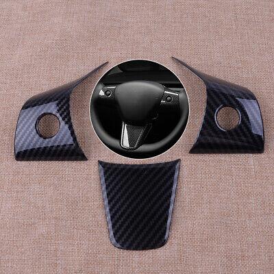 3pcs Carbon Fiber Steering Wheel Frame Cover Trim Fit For Tesla Model 3 2017-19