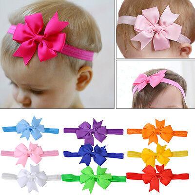 10ps Elastic Baby Headband Newborn Headdress Girls Kid Hair Band Bow Photo Props