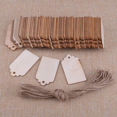 100X Blanco Etiquetas madera Fiesta Bodas Blank Wooden Label Party Gift Tags...