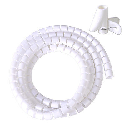 White Spiral Wrapping Band Cable Manager 1 5M Tube Tidy Management New