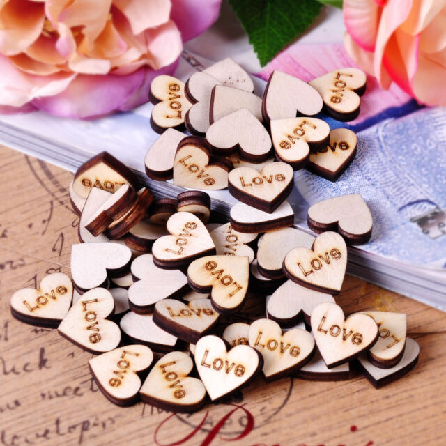 50 pieces Wooden Love Hearts:Craft Scrapbook Card Embellishments Wedding Charms