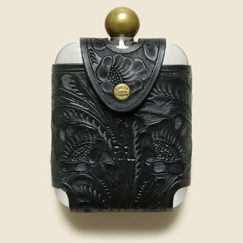 RRL Ralph Lauren Tooled Leather Sleeve Stainless Steel Liquor Hip Flask