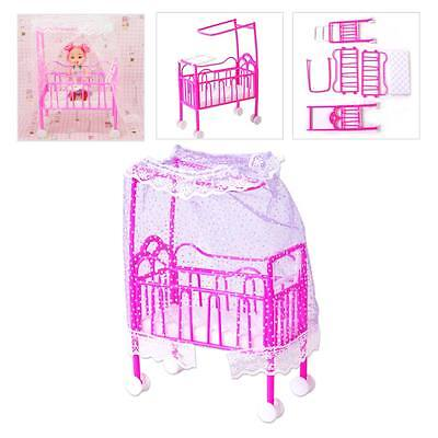 Barbie Doll Cradle Bed Mini Nursery Dollhouse Toy Bedroom Furniture Free Ship