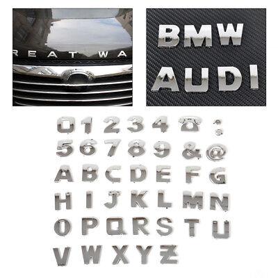 40stk Chrom Auto Aufkleber 3D Buchstaben Nummer Emblem Badge DIY A-Z & 0 - 9