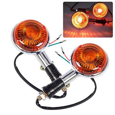 2X Turn Indicator Signal Light Blinker Amber Lens Fit Yamaha Road Star Virago