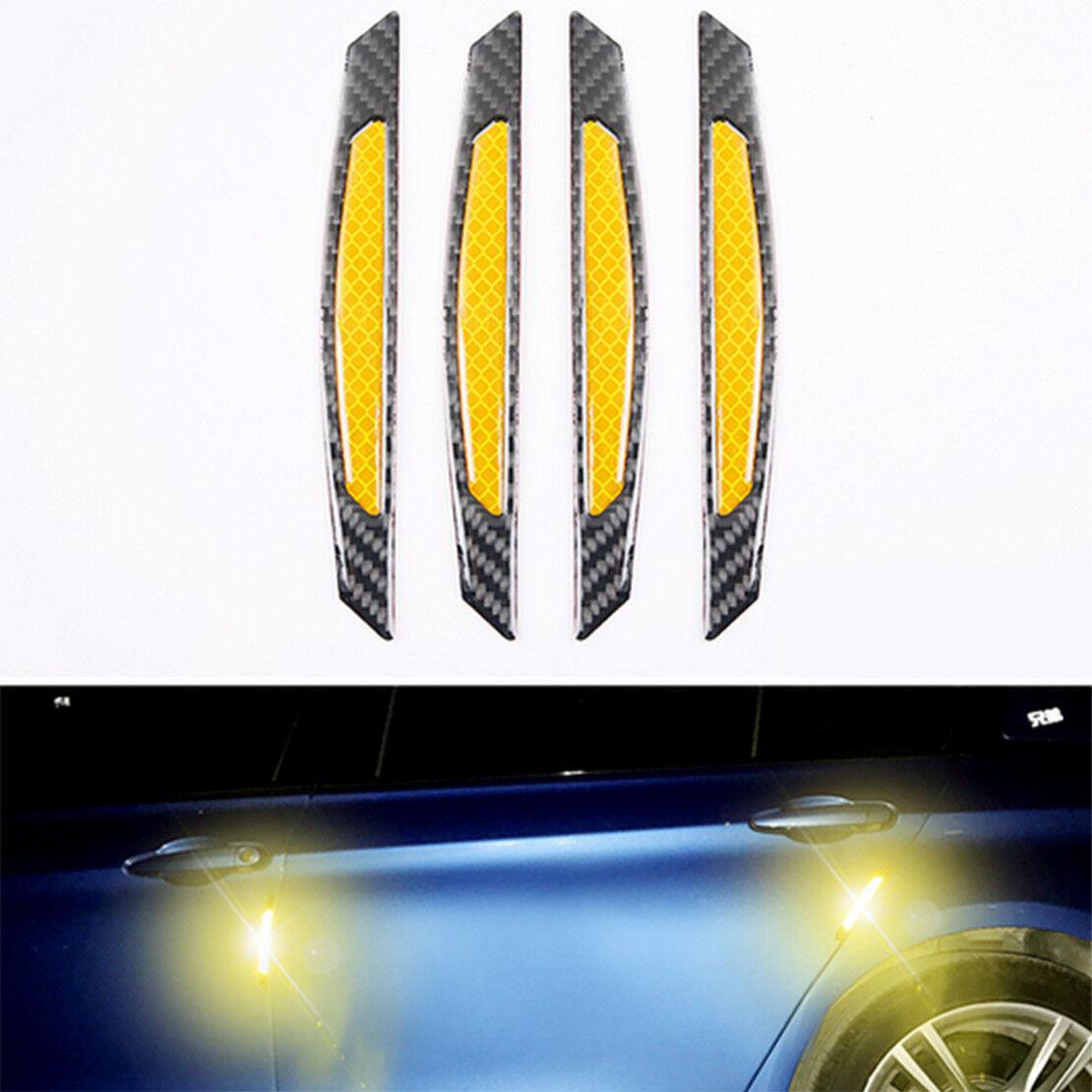 4x White Reflective Carbon Fiber Car Door Edge Protector anti-collision Sticker