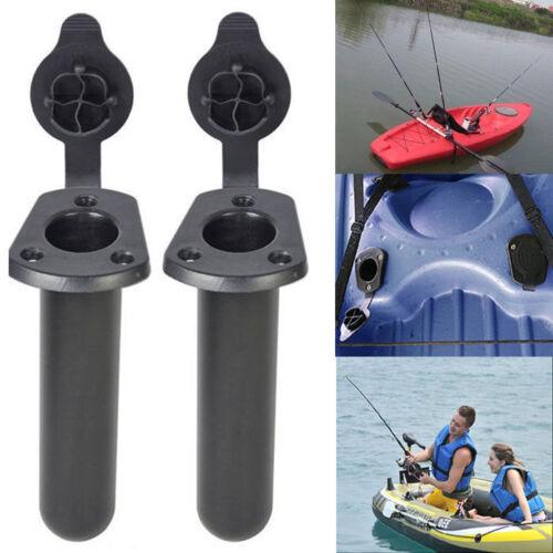 2pcs Flush Mount Rutenhalter mit Cap Boat Fishing 3-Polig Rod Bracket Rack