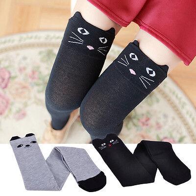 Paar Überknie Overknee Lang Socken Strümpfe Kniestrümpfe Katze Muster Schwarz