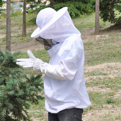 Protective Bee Keeping Jacket Veil Suit Smock & Beekeeping Long Sleeve Gloves