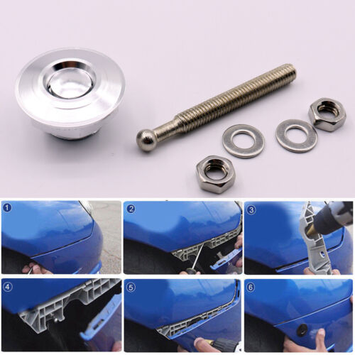 Silver Quick Release Car Push Button Hood Pin Lock Low