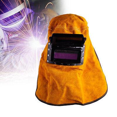 Leather Hood Welding Helmet Mask Solar Auto Darkening Filter Lens Welder Portabl