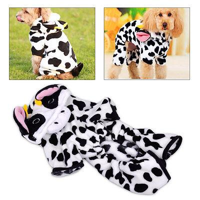 Kuh Kostüm Warme Fleece Hund Mantel Hundemantel Hundepullover Hundekleid - Kuh Hoodie Hunde Kostüm