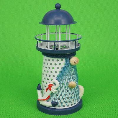 LED Licht Leuchtturm Lampe Tischlampe Mittelmeer Kerzenhalter  Lighthouse Deko
