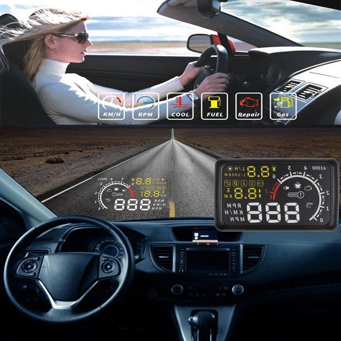 """Car Universal 5.5/"""" HUD Head Up EU-OBD OBD2 Speed KM//h MPH RPM Display System"""