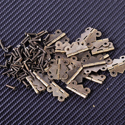 20 Antique Brass Jewelry Box Hinge Butterfly Small Hinge 20x17mm with Screws DIY