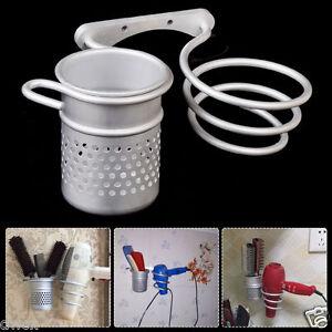 Aluminum Wall Mounted Bathroom Hair Drier  Rack Storage Holder+Comb Cup Bracket
