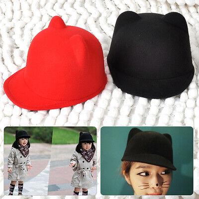 Damen Nedlich Kid Filzhut Mütze Kappe Hat Katzen Ohren Unifarben Rot/Schwarz NEU