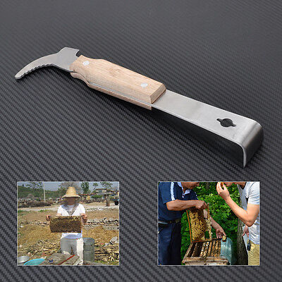 Handle Wooden Stainless Steel Bee Hive Scraper Beekeeping Keeper Tool Equipment