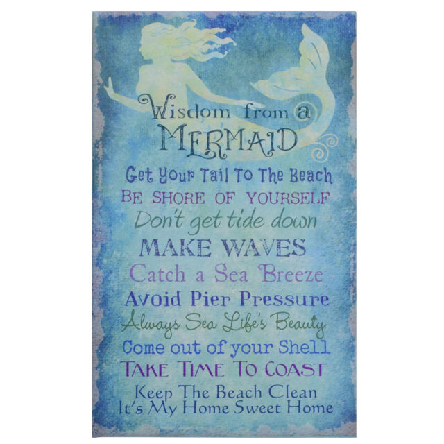 Advice From a Mermaid Blue Canvas Wall Art Sign Beach Seaside ...