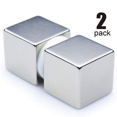 2 Pack 1 Inch Solid Cube Magnets Large Neodymium Rare Earth Big Strong Fastener