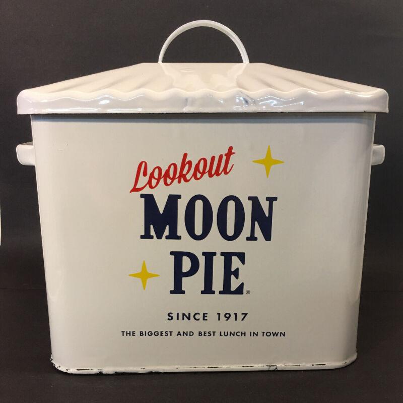 Enamel Moon Pie Bread Box Vtg Style Country Kitchen and Farmhouse Home Decor