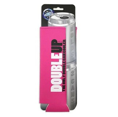 Can Insulator Neoprene DoubleUp Holds 2 Cans Pink Free Shipping