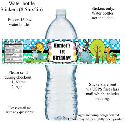 20 Jungle Theme Water Bottle Labels - PERSONALIZED - CUSTOM, baby animals - Baby Jungle Theme
