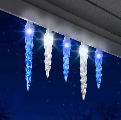 NEW GEMMY LIGHT SHOW SYNCHRO LIGHTS 12 LED ICICLE Set ICY BLUE WHITE CHRISTMAS](Synchro Lights)
