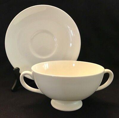 Cream Soup Bowl Sets - WEDGWOOD WHITE Bone CREAM SOUP BOWL & SAUCER SET Quantity Available Plain Smooth