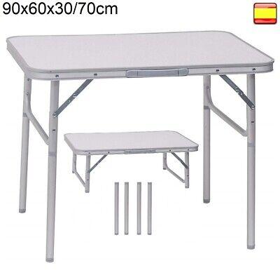 Mesa plegable portátil para Camping Terraza Jardín Playa de aluminio 90x60x70cm
