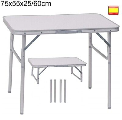 Mesa plegable portátil para Camping Terraza Jardín Playa de aluminio 75x55x60cm